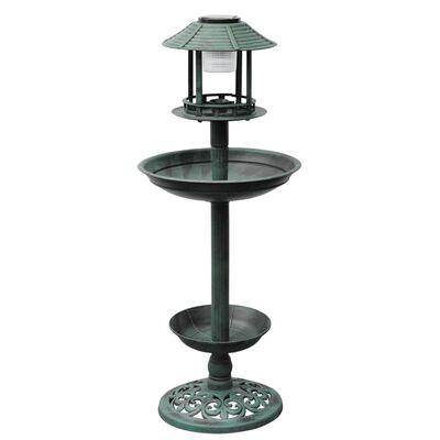 Fuente / Comedero De Pájaros Con Luz Solar