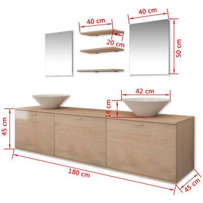 vidaXL Conjunto de muebles de baño y lavabo 8 piezas beige
