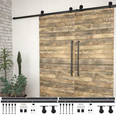 vidaXL Kit de herrajes de puertas correderas acero negro 2 uds 183 cm