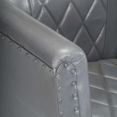 vidaXL Sillón diseño de cubo cuero de cabra auténtico gris