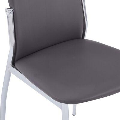 vidaXL Sillas de comedor 4 unidades cuero sintético gris