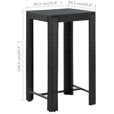 vidaXL Set muebles bar jardín 3 piezas y cojines ratán sintético negro