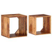 vidaXL Mesas apilables de madera maciza de sheesham 2 piezas