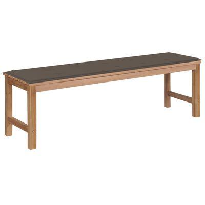 vidaXL Banco de jardín madera maciza teca con cojín gris taupe 150 cm