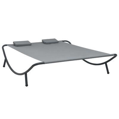 vidaXL Tumbona doble de exterior de tela gris antracita