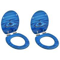 vidaXL Asiento WC tapa cierre suave 2 uds MDF azul diseño gota de agua