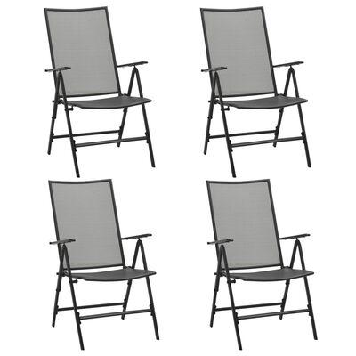vidaXL Sillas plegables de malla de acero 4 unidades gris antracita