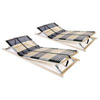vidaXL Somieres de cama 2 uds con 42 láminas 7 zonas 80x200 cm