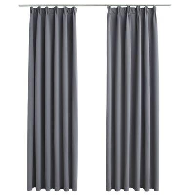 vidaXL Cortinas opacas con ganchos 2 piezas gris 140x245 cm