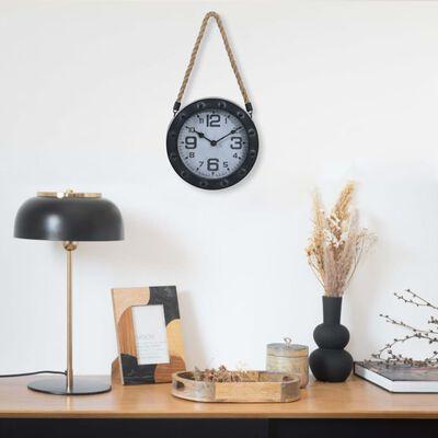 vidaXL Reloj de pared con cuerda metal y MDF negro 20 cm