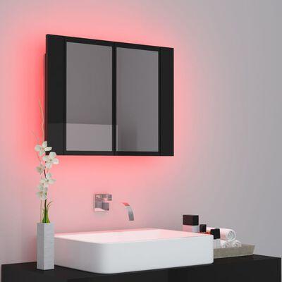vidaXL Armario espejo de baño con luz LED negro brillante 60x12x45 cm
