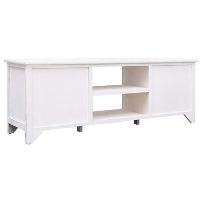 vidaXL Mueble para TV de madera blanco antiguo 115x30x40 cm