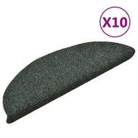 vidaXL Alfombrilla autoadhesiva de escalera 10 uds 56x17x3 cm verde