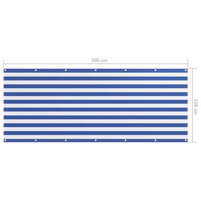 vidaXL Toldo para balcón tela oxford blanco y azul 120x300 cm