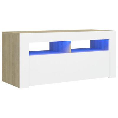 vidaXL Armario TV con luces LED blanco y roble Sonoma 90x35x40 cm