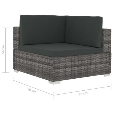 vidaXL Set de sofás de jardín con cojines 4 pzas ratán sintético gris