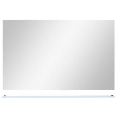 vidaXL Espejo de pared con estante de vidrio templado 100x60 cm