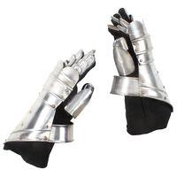vidaXL Réplica de guanteletes de caballero medieval LARP acero plata