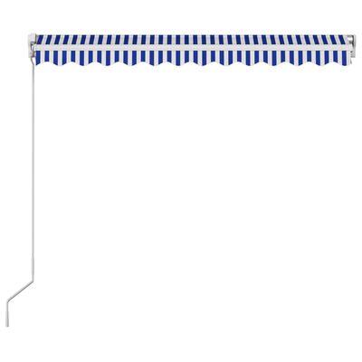 vidaXL Toldo manual retráctil azul y blanco 300x250 cm