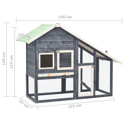 vidaXL Conejera de madera maciza de abeto gris y blanco 140x63x120 cm