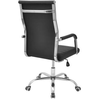 vidaXL Silla de oficina de cuero artificial negra 55x63 cm