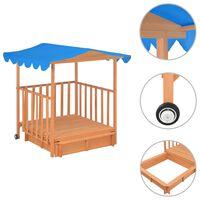 vidaXL Casa de juegos para niños con arenero madera abeto azul UV50