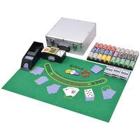 vidaXL Juego combinado póker/blackjack con 600 fichas láser aluminio