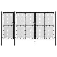 vidaXL Puerta de jardín de acero negro 400x150 cm