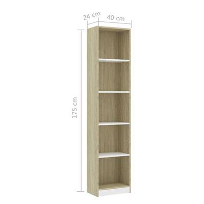 vidaXL Estantería 5 niveles de aglomerado blanco y sonoma 40x24x175 cm