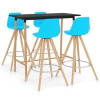 vidaXL Mesa alta y taburetes de bar 5 piezas azul