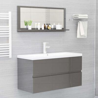 vidaXL Espejo de baño aglomerado gris brillante 90x10,5x37 cm