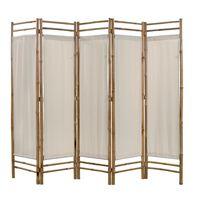 vidaXL Biombo plegable con 5 paneles 200 cm bambú lona