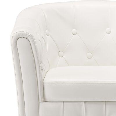 vidaXL Sillón con diseño de cubo con reposapiés cuero sintético blanco