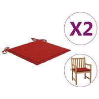 vidaXL Cojines para sillas de jardín 2 unidades rojo 50x50x3 cm