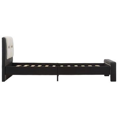 vidaXL Estructura cama con LED cuero sintético negro y blanco 90x200cm