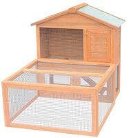 vidaXL Conejera jaula de animales con patio exterior madera