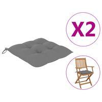 vidaXL Cojines de silla 2 unidades tela gris 40x40x7 cm