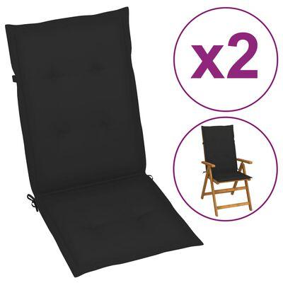 vidaXL Cojines para sillas de jardín 2 unidades negro 120x50x4 cm