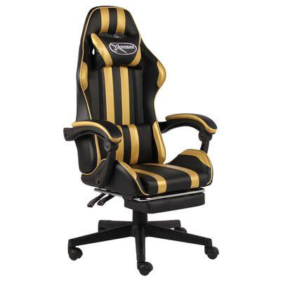 vidaXL Silla gaming con reposapiés cuero sintético negro y dorado