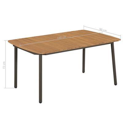 vidaXL Mesa de jardín madera maciza de acacia y acero 150x90x72 cm