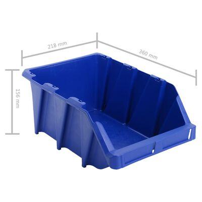 vidaXL Contenedores almacenaje apilables 218x360x156 mm azul 35 uds