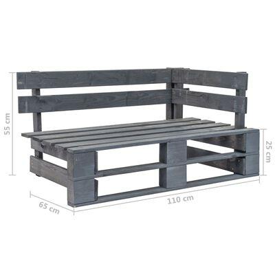 vidaXL Sofá de palets 2 plazas cojines gris madera de pino impregnada