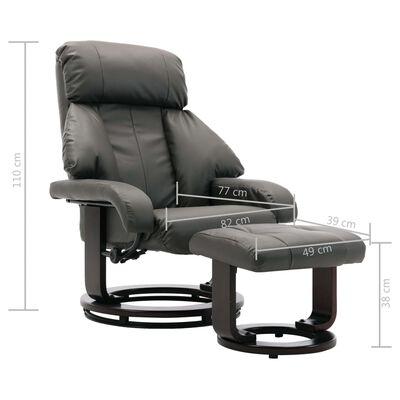 vidaXL Sillón reclinable para TV con reposapiés cuero sintético gris