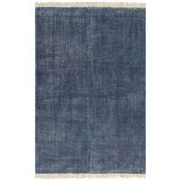 vidaXL Alfombra de algodón Kilim 200x290 cm azul