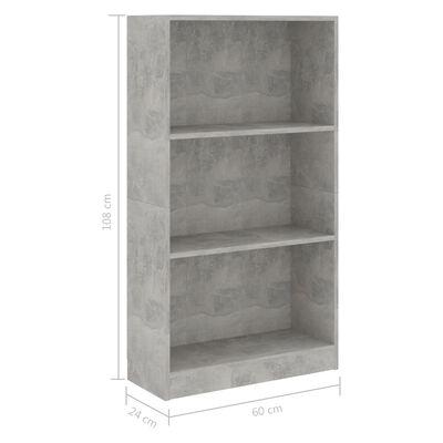 vidaXL Estantería de 3 niveles aglomerado gris hormigón 60x24x108 cm