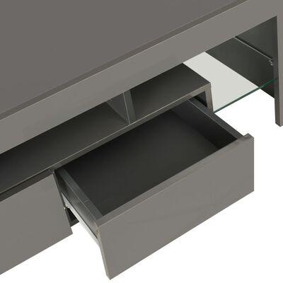 vidaXL Mueble para TV con luces LED gris brillante 130x35x45 cm