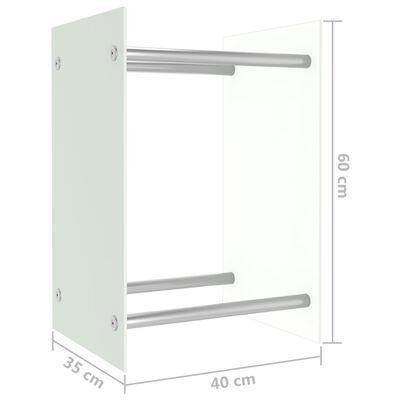 vidaXL Leñero de vidrio blanco 40x35x60 cm