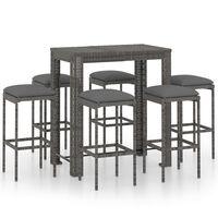 vidaXL Set muebles bar jardín 7 piezas y cojines ratán sintético gris