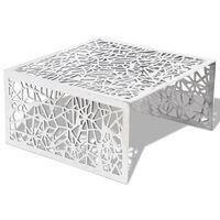 vidaXL Mesa de centro con diseño calado geométrico aluminio plateada