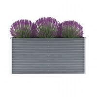 vidaXL Arriate de jardín de acero galvanizado gris 160x40x77 cm